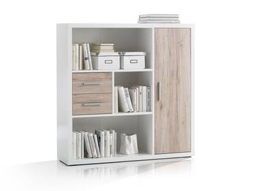 TOKIO Highboard weiss/Eiche San Remo hell