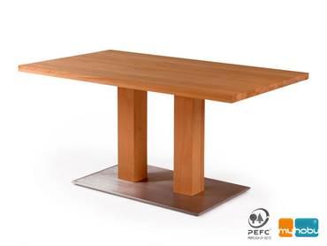 ORLEANS Massivholztisch Säulentisch / Fuß aus Edelstahl