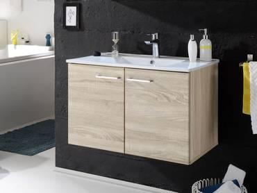 SLOT Waschtisch inkl. Becken mit zwei Türen Eiche Sonoma Nachbildung MDF
