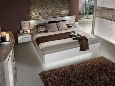 ROMANA Bettanlage 180x200 cm, Material Dekorspanplatte, sandeichefarbig/weiss mit Bettbank