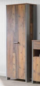 CASSIA Garderobenschrank mit 1 Tür Old Wood Vintage/Beton dunkelgrau