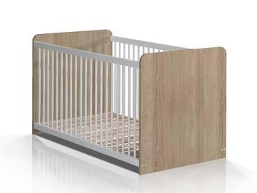 WALDY Babybett, Material Dekorspanplatte, Eiche sonomafarbig/weiss