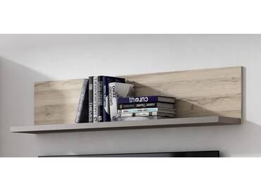 ADANA Wandregal, Material Dekorspanplatte, Eiche biancofarbig/basaltfarbig
