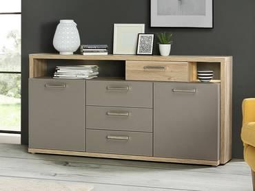 ADANA Sideboard 1, Material Dekorspanplatte, Eiche biancofarbig/basaltfarbig