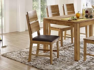 KAI Massivholz Esstischstuhl / Sitzfläche PVC braun Wildeiche | geölt