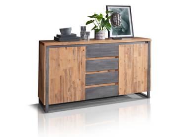 MALAGA Sideboard II, Material Massivholz,  Akazie gebürstet Akazie natur