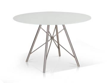DOMINO Esstisch rund 120 cm weiß