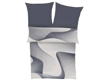 BUGATTI Mako-Satinbettwäsche 135x200+80x80 weiß-grau