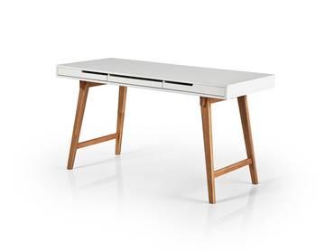 ANNIKA Schreibtisch, Material Teilmassiv, weiss/eichefarbig
