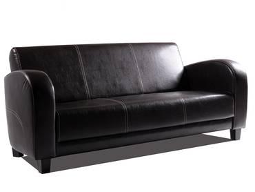 ANTO Sofa 3-Sitzer Antikbraun, Füsse nussbaumfarben