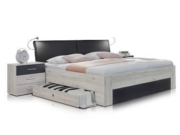 ARMENIA Bett mit SK 180x200 cm Weißeiche/anthrazit