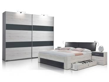 ARMENIA Komplett-Schlafzimmer Weißeiche/anthrazit