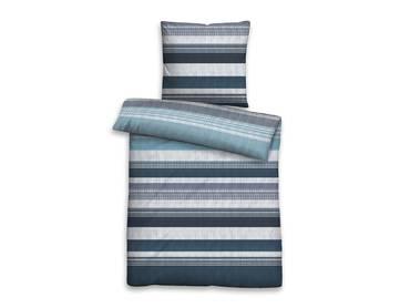 BIBERNA Mako-Baumwoll-Satinbettwäsche 135x200+80x80, blau