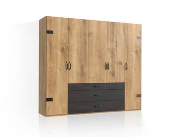 DASTY Drehtürenschrank, Material Dekorspanplatte, plankeneichefarbig/dunkelgrau 250 cm | ohne Spiegel