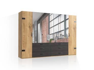 DASTY Drehtürenschrank, Material Dekorspanplatte, plankeneichefarbig/dunkelgrau