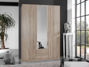 SWEN Kleiderschrank mit Spiegel 135 cm (3-türig) | Eiche sägerau