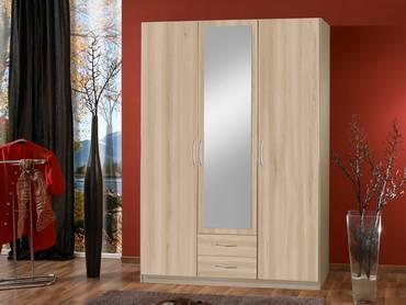SWEN Kleiderschrank mit Spiegel, Material Dekorspanplatte 135 cm (3-türig) | edelbuchefarbig