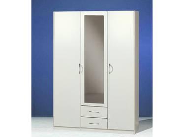SWEN Kleiderschrank mit Spiegel, Material Dekorspanplatte 135 cm (3-türig) | weiss