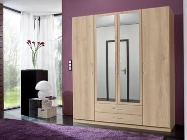 SWEN Kleiderschrank mit Spiegel, Material Dekorspanplatte 180 cm (4-türig) | edelbuchefarbig