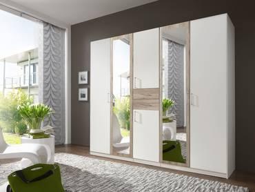 DUSTIN Kleiderschrank mit Spiegeltür 225 cm | weiss/San Remo Eiche Nachbildung MDF