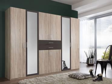 DUSTIN Kleiderschrank mit Spiegeltür 270 cm | Eiche sägerau Nachbildung MDF/lavafarbig
