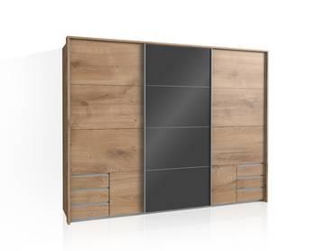 VALENA Schwebetürenschrank, Material Dekorspanplatte, plankeneichefarbig/grau 3-türig