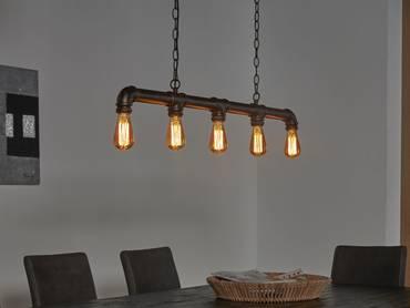 TAFEL Hängelampe Industrial tube schwarz 5 Lampen