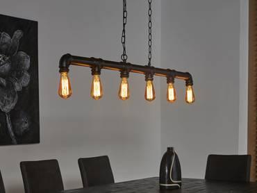 TAFEL Hängelampe Industrial tube schwarz 6 Lampen