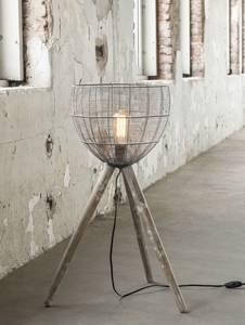 LEVI Stehlampe klein breit mit Korb Holzbeine