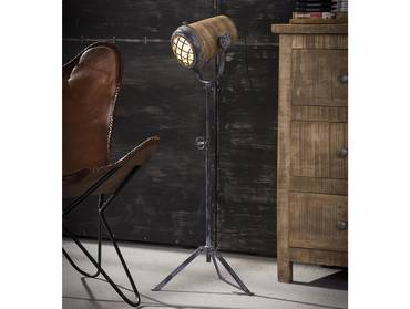 VALMIR Stehlampe Eisen/Mangoholz 78 - 96 cm