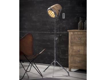 VALMIR Stehlampe Eisen/Mangoholz 112 - 184 cm