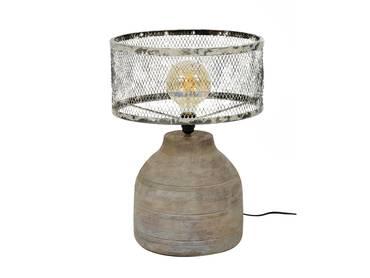 GREMI Tischlampe groß Gitterschirm mit Holzfuß