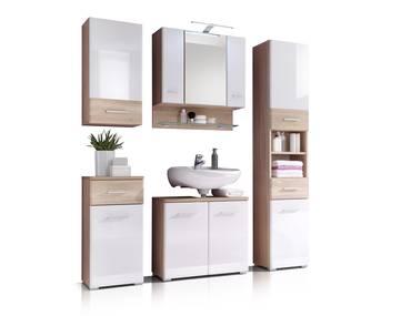 BORALO Badezimmer-Set, Material MDF, weiss Hochglanz/Eiche sonomafarbig