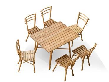 BENT Esszimmer Set 1 Tisch + 6 Stühle