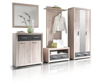 BRANDY Garderobe 5-teilig Eiche Sonoma/Pinie Dekor