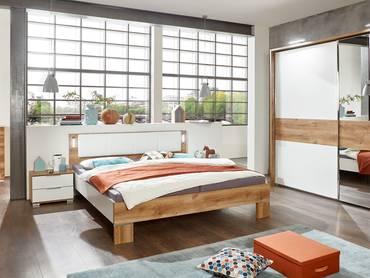 Komplett-Schlafzimmer CASY weiß/Plankeneiche