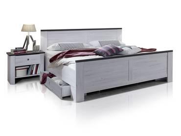 CALIFORNIA Bett mit SK 180x200 cm Weißeiche/lavafarbig