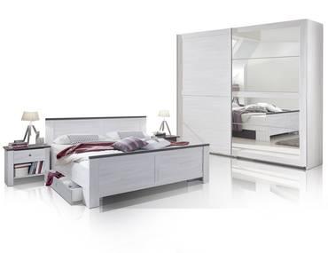 CALIFORNIA Komplett-Schlafzimmer Weißeiche/lavafarbig