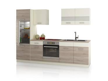 CALINA Küchenblock, Material Dekorspanplatte Eiche Sonoma trüffelfarbig/creme
