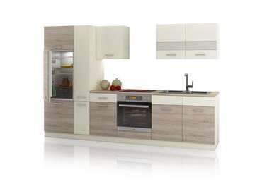 CALINA Küchenblock inkl. Apothekerschrank, Material Dekorspanplatte Eiche Sonoma trüffelfarbig/Creme