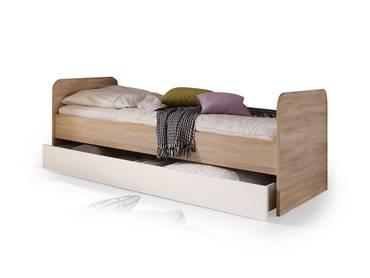 CASSIAN Bett 90x200 Eiche Sonoma/weiß