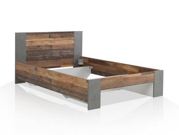 CASSIA Bett 140x200 cm, Material Dekorspanplatte, Old Wood Vintage/betonfarbig dunkelgrau