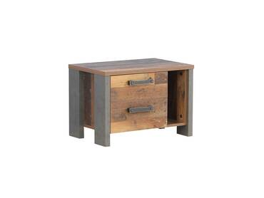 CASSIA Nachtkommode mit 2 SK, Material Dekorspanplatte, Old Wood Vintage/betonfarbig dunkelgrau