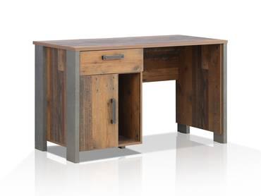 CASSIA Schreibtisch, Material Dekorspanplatte, Old Wood Vintage/betonfarbig dunkelgrrau