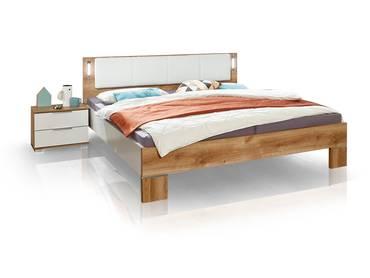CASY Doppelbett 180x200 cm, Material Dekorspanplatte, weiss/plankeneichefarbig