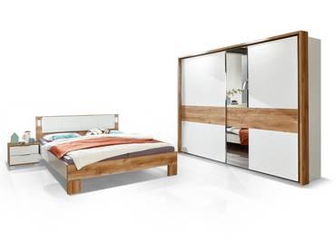 CASY Komplett-Schlafzimmer, Material Dekorspanplatte, weiss/plankeneichefarbig