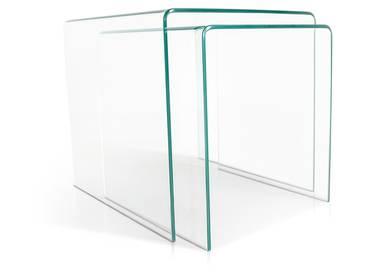 CECILE Beistelltische 2er Set Klarglas