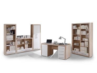 CHARON Komplettbüro, Material Dekorspanplatte, Eiche sonomafarbig