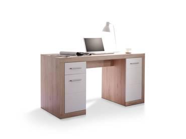 CHESTER Schreibtisch groß, Material Dekorspanplatte Eiche sanremofarbig/weiss