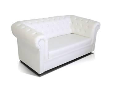 CHESTERFIELD 2-Sitzer Sofa Kunstleder weiß